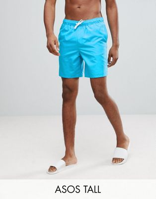 ASOS TALL Swim Shorts In Bright Blue Mid Length
