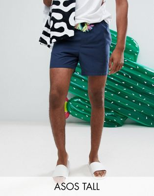 ASOS TALL Swim Shorts In Navy With Multicoloured Drawcord In Short Length