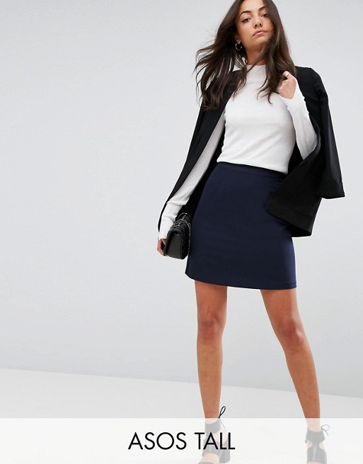 Image 1 of ASOS TALL Tailored A-Line Mini Skirt