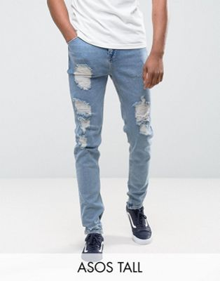 Image 1 of ASOS TALL Tapered Jeans In Vintage Light Wash Blue With Heavy Rips
