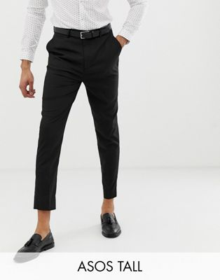 ASOS TALL Tapered Smart Trousers in Black