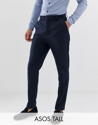 ASOS TALL Tapered Smart Trousers in Navy