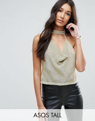 ASOS TALL Top with Cowl Neck in Chain Mail