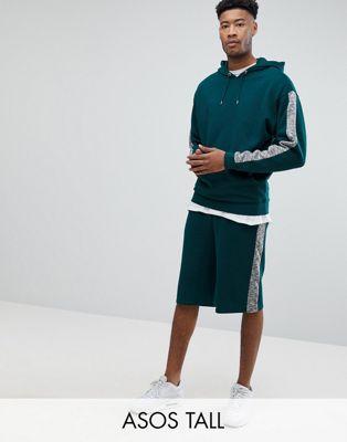 ASOS TALL - Trainingspak met oversized hoodie/oversized short met slubkatoenen panelen