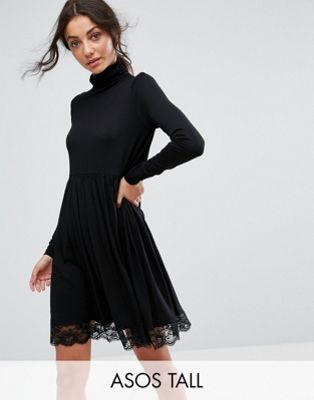 ASOS TALL Turtleneck Skater Dress With Lace Hem