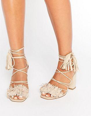 Image 1 of ASOS TAMA Fringe Heeled Sandals