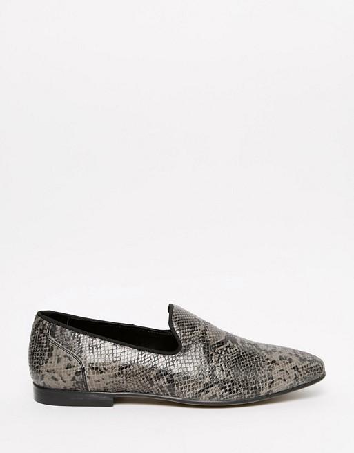 6c512646b54 ASOS Tassel Loafers in Grey Snakeskin Effect