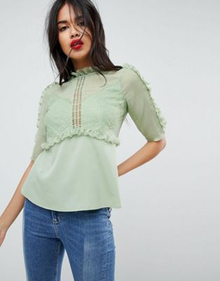 ASOS Tea Blouse In Chiffon Lace Mix With Ruffle