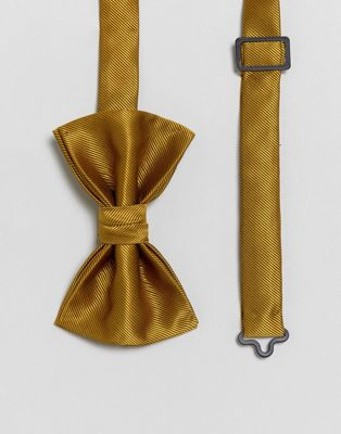 ASOS Textured Bow Tie In Mustard