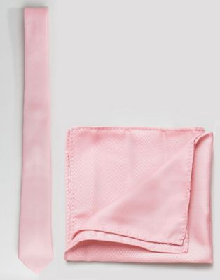 ASOS Tie and Pocket Square Pack In Pale Pink
