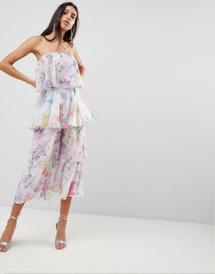 ASOS Tiered Jumpsuit in Mixed Florals