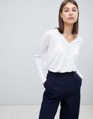 ASOS Top with V-Neck in Oversized Lightweight Rib