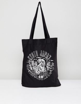 ASOS Tote Bag With Kyoto Print In Black