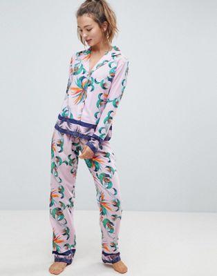 ASOS Tropical 100% Modal Oversized Traditional Shirt & Trouser Pyjama Set