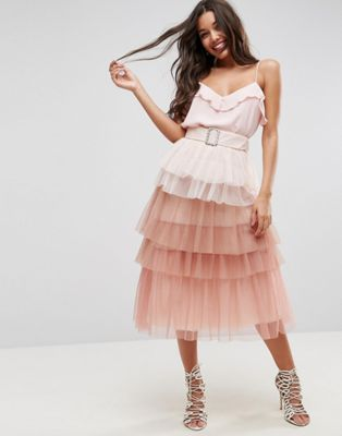 ASOS Tulle Prom Skirt with Rainbow Layers and Belt