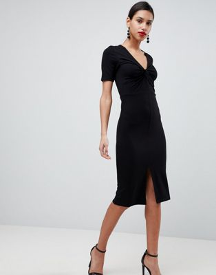 Image 1 of ASOS Twist Front Ponte Pencil Dress