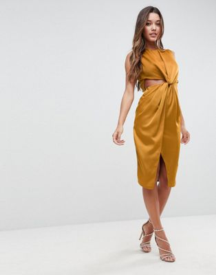 Image 1 of ASOS Twist Front Sexy Satin Pencil Dress with Cut Out