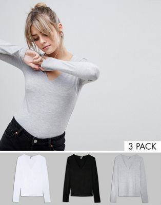 ASOS Ultimate Top with Long Sleeve and V-Neck 3 Pack Save 10%