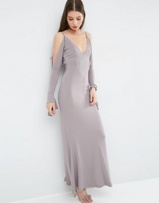 Image 1 of ASOS V Front Seamed Maxi Dress With Cold Shoulder