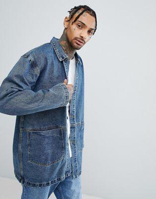 ASOS - Veste style workwear en jean à délavage foncé