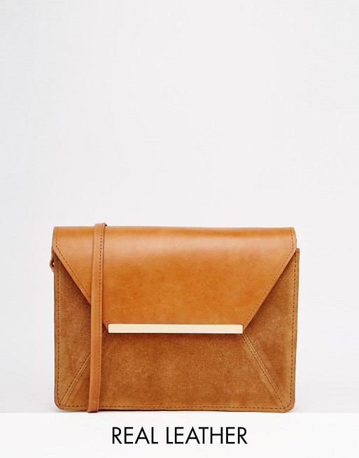 ASOS Vintage Leather Cross Body Bag With Metal Bar