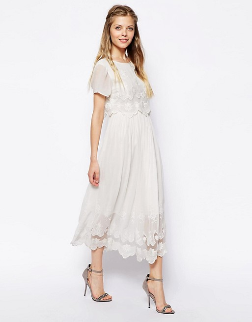 ASOS Vintage Midi Dress With Cutwork And Overlay Top
