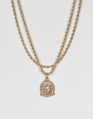 ASOS Vintage Style Icon Pendant Rope Chain Multirow Necklace