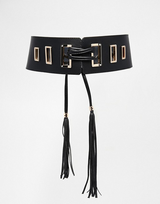 ASOS Waist Belt With Tassel Tie Detail And Square Eyelets