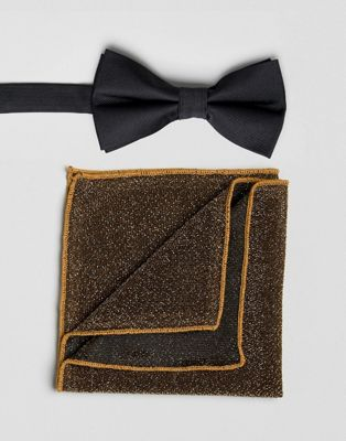 ASOS Wedding Bow Tie With Sparkly Pocket Square