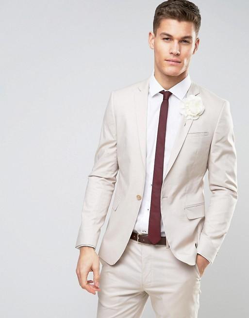 ASOS – Wedding – Enge Anzugjacke aus Baumwolle mit Stretchanteil in Kittgrau