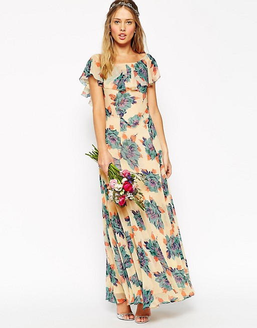 d46606e5fe4 ASOS WEDDING Maxi Dress With Frill Detail In Pretty Floral Print