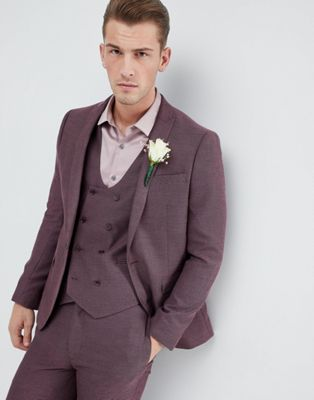 ASOS Wedding Skinny Suit Jacket In Damson Micro Texture