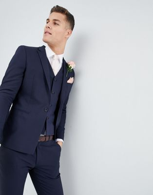 ASOS Wedding Skinny Suit Jacket With Square Hem In Navy