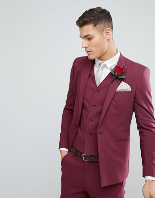 ASOS Wedding Skinny Suit Jacket With Square Hem In Wine