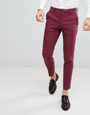 ASOS Wedding Skinny Suit Pant In Wine