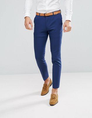 ASOS Wedding Skinny Suit PANTS in Blue Cross Hatch