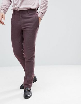 ASOS Wedding Skinny Suit Trousers In Damson Micro Texture