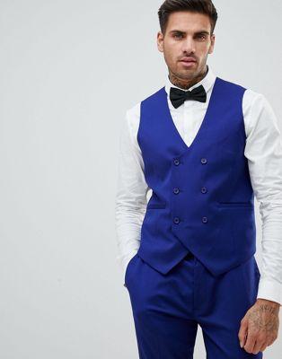 ASOS WEDDING Skinny Suit vest In Bright Blue