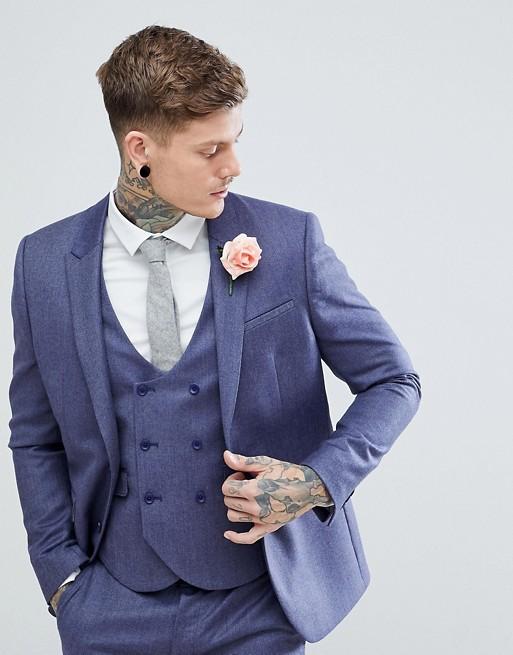 Image 1 of ASOS WEDDING Slim Suit Jacket in Deep Blue 100% Merino Wool