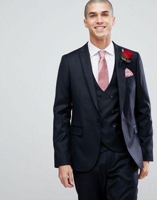 Image 1 of ASOS Wedding Slim Suit Jacket In Navy Cashmere Blend