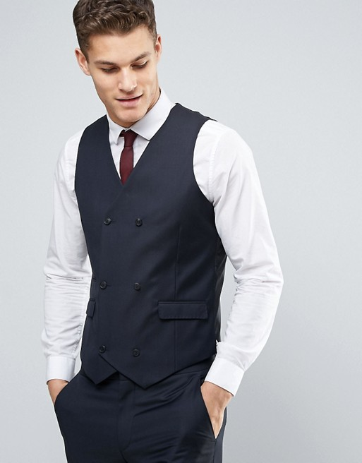 ASOS Wedding Slim Suit Vest in Dark Navy 100% Wool