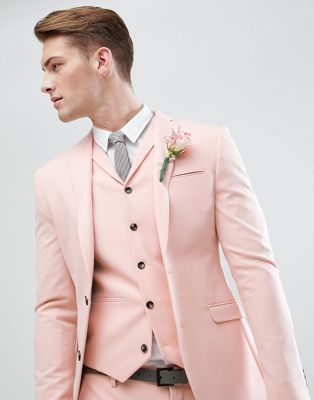 ASOS Wedding Super Skinny Fit Suit Jacket In Pale Peach