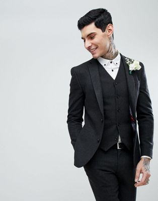 ASOS WEDDING Super Skinny Suit Jacket In Charcoal Houndstooth