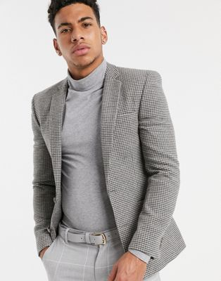 ASOS Wedding Super Skinny Suit Jacket In Grey Houndstooth