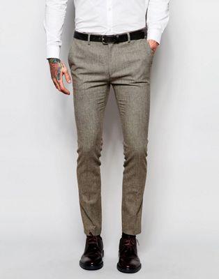 Image 1 of ASOS Wedding Super Skinny Suit Pants In Brown Dogstooth