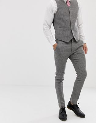 ASOS Wedding Super Skinny Suit Trousers In Grey Houndstooth