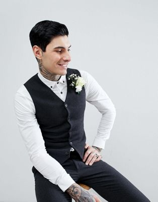 ASOS WEDDING Super Skinny Waistcoat In Charcoal Houndstooth