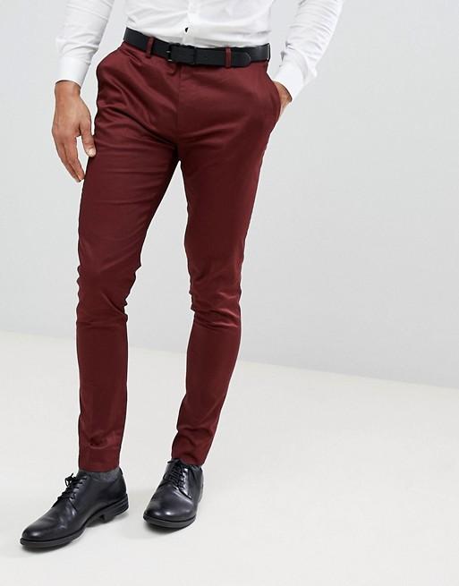 bordeauxrotem elegante Baumwollsatin aus Hose WEDDING ASOS burgunderrot Superenge Ha7nX
