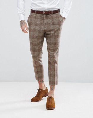 Image 1 of ASOS Wedding Tapered Suit Trousers In Camel Wool Mix Tartan Check