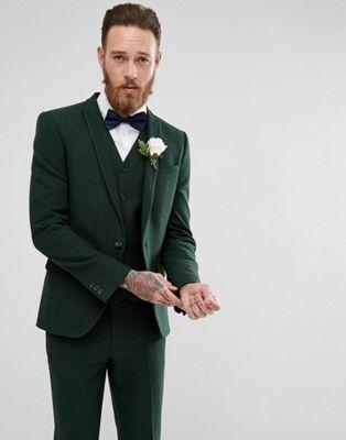 Image 1 sur ASOS Wedding - Veste de costume ajustée - Chevrons vert forêt